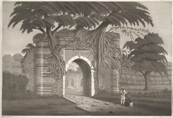 'Gate of Sultan Shah Hussein's tomb at Gour'.  Aquatint, drawn and engraved by James Moffat after Henry Creighton.  Published Calcutta. Undated.
